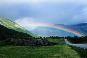 Rainbow over Norwegian Countryside Norway